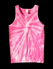 two-tone, fluorescent / neon pink, tie-dye tank top