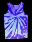 two-tone, fluorescent / neon purple, tie-dye tank top seen under a black light