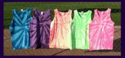 five, fluorescent / neon, tie-dye tank tops in assorted colors