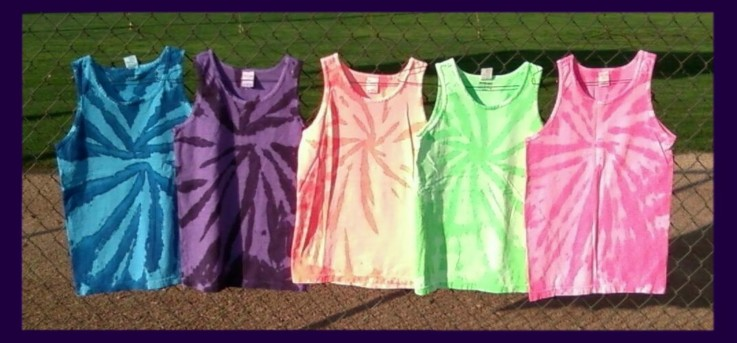 Two-tone, fluorescent / neon tie-dye tank tops in assorted colors