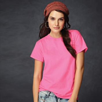 b422ba03 Woman wearing an Anvil women's neon pink T-shirt