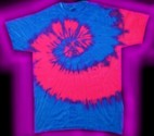 a blue and pink, fluorescent / neon, tie-dye T-shirt