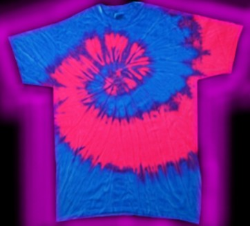 two-color, neon blue and neon pink, fluorescent, tie-dye T-shirt