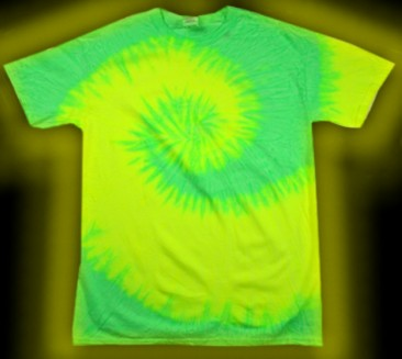 two-color, neon green and neon yellow, fluorescent, tie-dye T-shirt