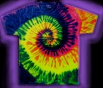 Neon Swirl A - a multi-colored, fluorescent / neon, tie-dye T-shirt