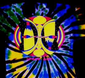 Space Age design on a tie-dye T-shirt