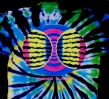 Power Surge design printed with fluorescent inks on a tie-dye T-shirt.
