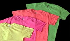 four, plain, fluorescent / neon T-shirts in assorted colors
