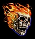 Flaming Skull design for black and purple T-shirts and sweatshirts