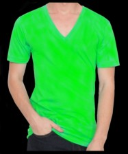 Fluorescent / Neon green, V-neck T-shirt, 100% cotton