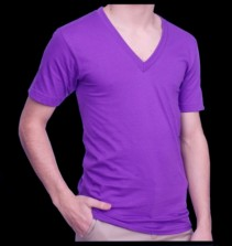 Fluorescent / Neon purple, V-neck T-shirt, 100% cotton