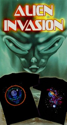 Alien Invasion series, black imprinted T-shirts
