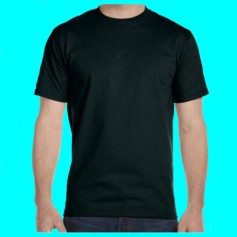 plain, black, cotton T-shirt