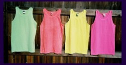 four, fluorescent / neon tank tops in assorted colors