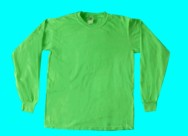 long-sleeve, neon green T-shirt