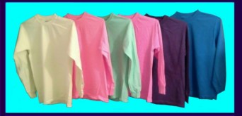 plain, long-sleeve, fluorescent / neon T-shirts in assorted colors
