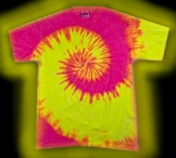 Neon Swirl B - a fluorescent or neon, tie-dye T-shirt made with three colors